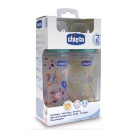 Chicco Set Μπιμπερό 2m+ Φυσική Μέθοδος Πλαστικό 2τμχ Καουτσούκ 2