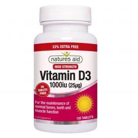 NATURES AID Vitamin D3 1000iu - 120 tabs
