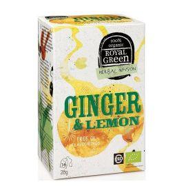Royal Green Organic Tea Ginger & Lemon 16 tea bags