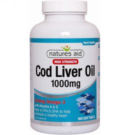NATURES AID Cod Liver Oil (High Strength) 1000mg - 180softgels