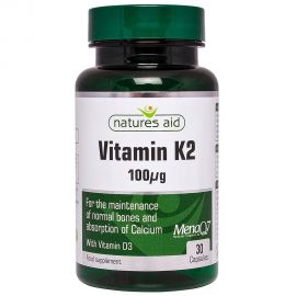 NATURES AID Vitamin K2 100μg (MenaQ7) with D3 400iu - 30vcaps