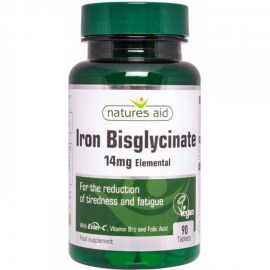 NATURES AID Iron Bisglycinate με Ester C, B12 & Folic Acid - 90